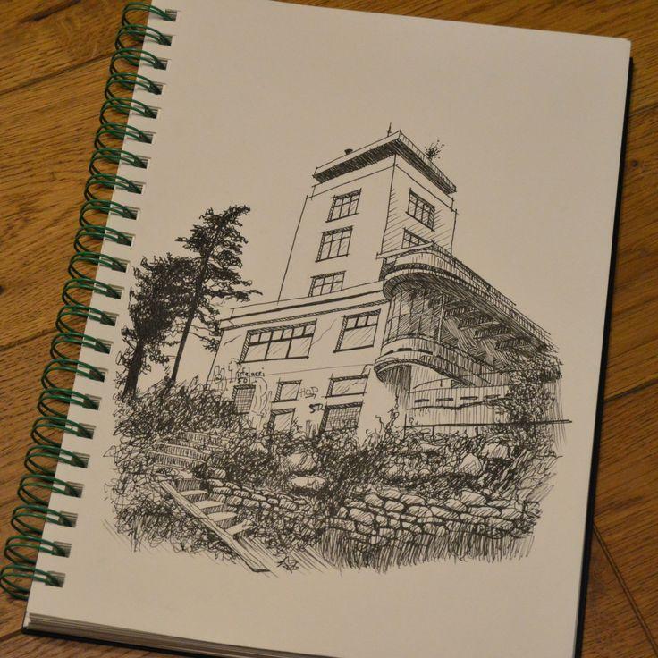 instagram: kratochvil.ondrej #sketch #ink #barrandovsketerasy #functionalism #architecture #maxurban #prague #czechrepublic