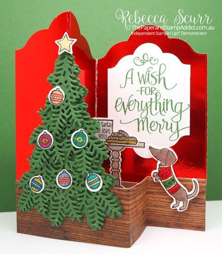Ready For Christmas stamp set and Christmas Staircase Thinlits, Wood Texture DSP - AddINKtive Design Team - Rebecca Scurr - Independent Stampin' Up! demonstrator - www.facebook.com/thepaperandstampaddict