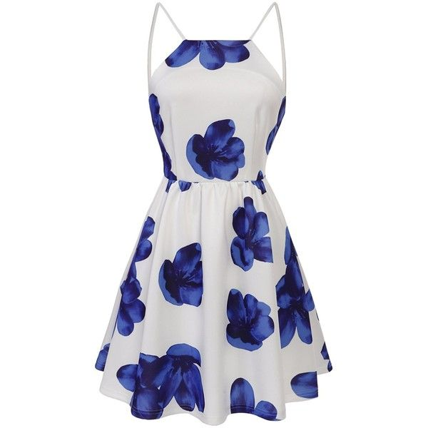 ACEVOG Women Sexy Halter Neck Floral Print Backless Beach Skater Mini... (22 CHF) ❤ liked on Polyvore featuring dresses, white dress, white halter top, white halter dress, beach dresses and skater dress