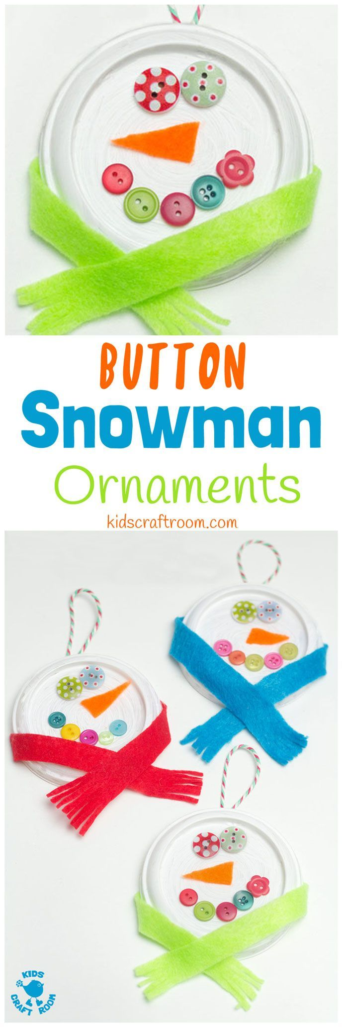 BUTTON SNOWMAN ORNAMENTS Christmas and winter craft for kids