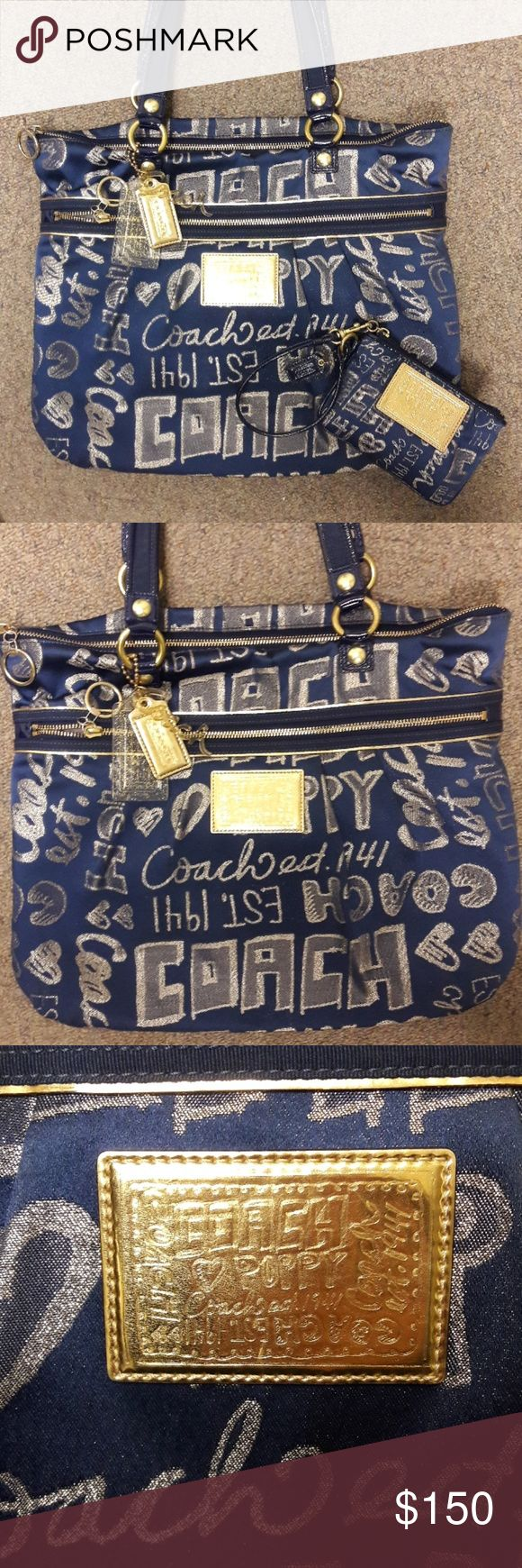 Coach Poppy Set Beautiful limited edition Coach Poppy purse and matching wristlet/wallet! Navy blue with shimmering gold storybook writing on both items! Gold zippers, navy blue leather straps! In excellent condition!! Any questions regarding details feel free to ask! Only reasonable offers welcome. Coach Bags