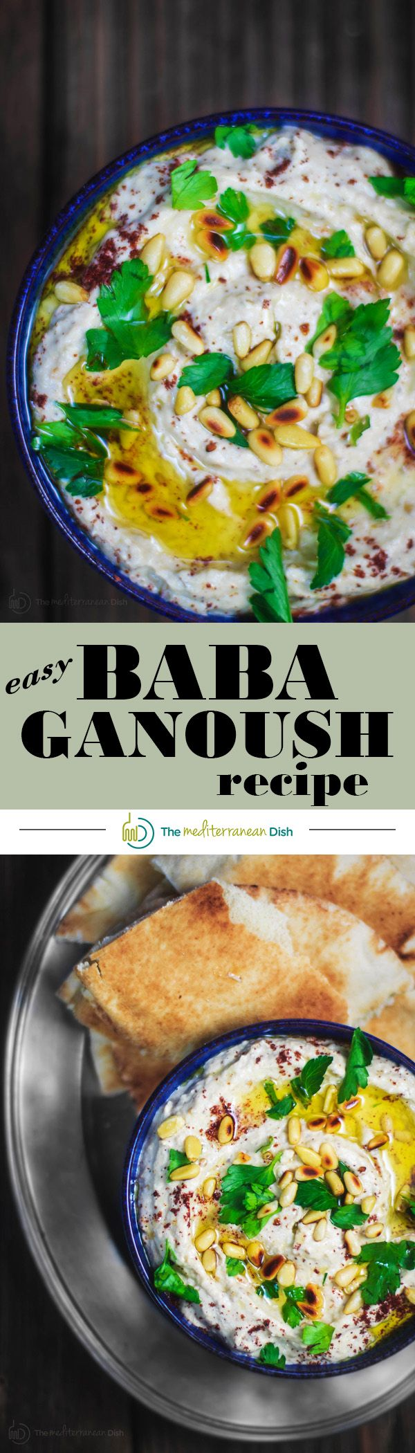 Easy Baba Ganoush Recipe | The Mediterranean Dish. A silky, flavor-packed roasted eggplant dip with tahini, garlic and yogurt. The perfect party appetizer, snack or a spread for your sandwiches. Recipe comes with step-by-step photos!