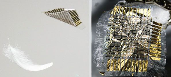 Second skin Left panel shows feather and electronic skin falling through the air. The right panel shows an example of an electronic skin: gold foil on a clear plastic film.