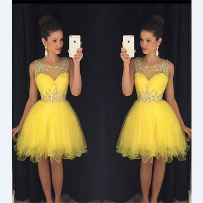 Grade Short A Line Homecoming Dresses Scoop Beaded Neck Crystals Pleats Yellow Tulle Formal Party Prom Gown