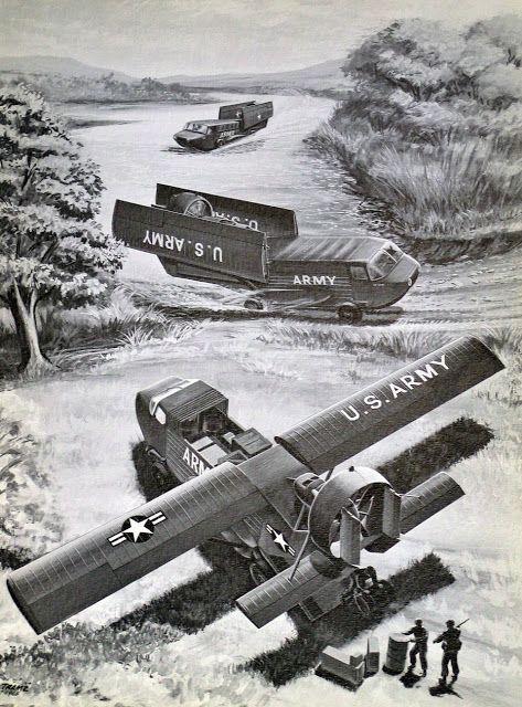 Northrop Truck Air Boat. Proyecto ideado durante la guerra de Vietnam, que nunca llegó a materializarse, para hacer un vehículo capaz de operar por tierra mar y aire.: