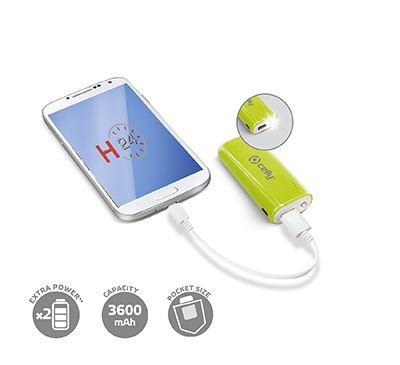 Batteria d'emergenza verde con porta USB universale con output di 5V/1A, capacità complessiva di 3600mAh. Viene fornito con un cavo di ricarica USB-microusb, che permette la ricarica della batteria tramite PC, notebook o caricabatterie USB con uotput massimo di 5V/1A. La batteria è anche provvista di 4 led per l'indicazione della carica residua e di una comoda luce di emergenza azionabile tramite apposito pulsante.