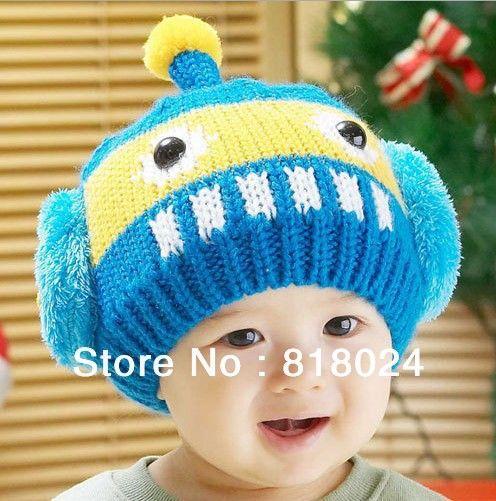 Новый зимняя шапка мода мальчики шапки вязаная шапка симпатичные смешные холодный дети шляпы хип-хоп детские Skullies и шапки