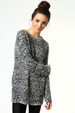 Khloe Mixed Knit Jumper at boohoo.com
