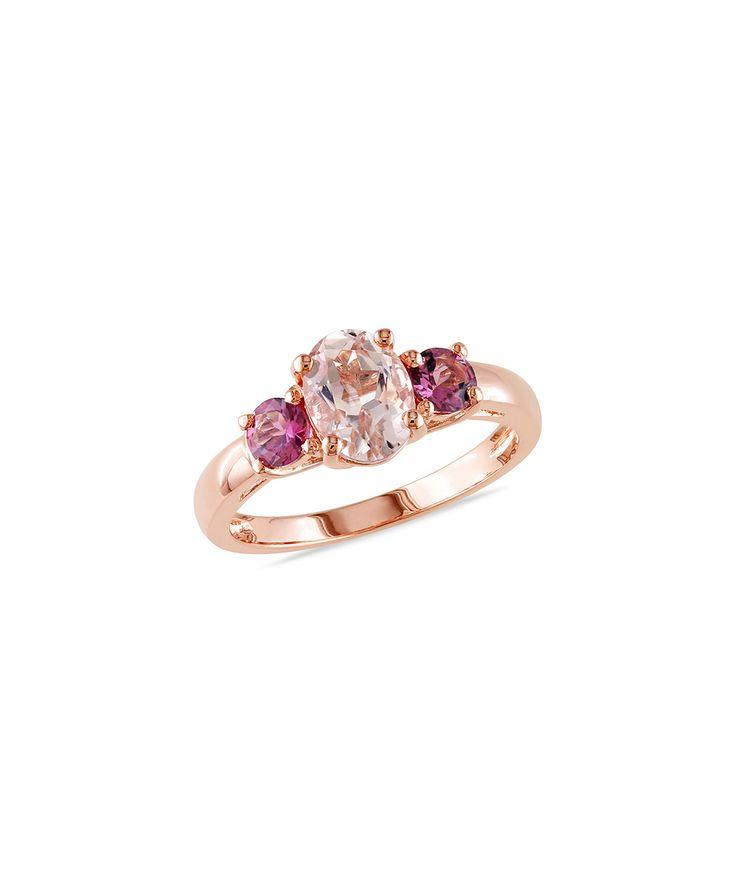 Morganite & Pink Tourmaline Solitaire Ring