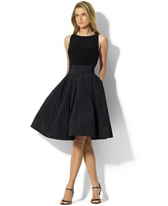 Elegantly pairing sleek matte jersey at the bodice with a lustrous pleated taffeta skirt, Lauren Ralph Lauren's cocktail dress is finished with a chic scoop neckline and self-tie taffeta sash at the w