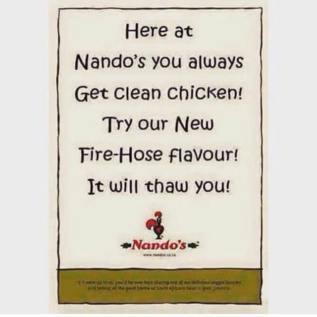 Nando's Chicken Hose Water Floor Advert Mocking KFC