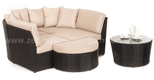 The Opal Rattan Corner Sofa Suite shown as a Daybed available from www.rattanfurnitureuk.co.uk for all weather outdoor garden furniture
