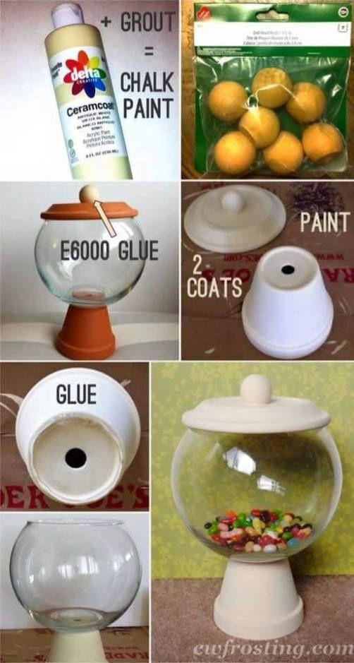 Materiales:  1 maceta de barro con su plato                                              1 pecera o bowl del tamaño de la base de la maceta                          pintura acrílica                                                          1 brocha                                                            …