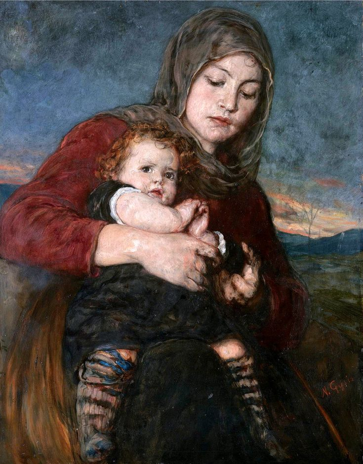 "Νικόλαος Γύζης (Nikolaos Gyzis), ""Mother and Child"""