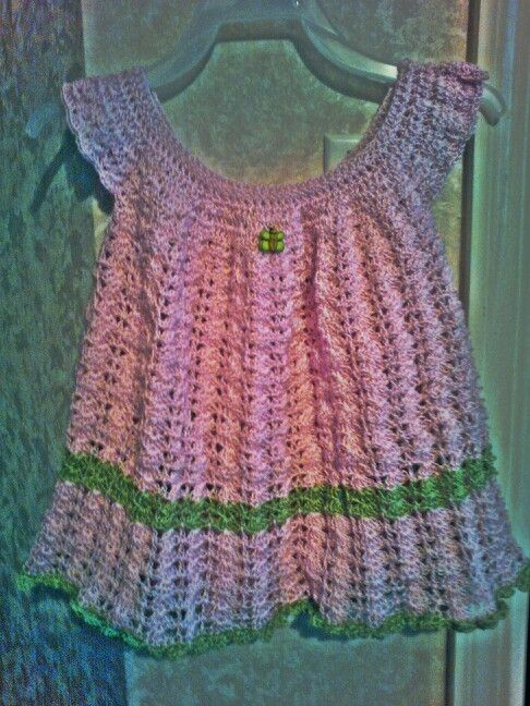 Dress i just finished crocheting fire my Grand daughter Quinn.