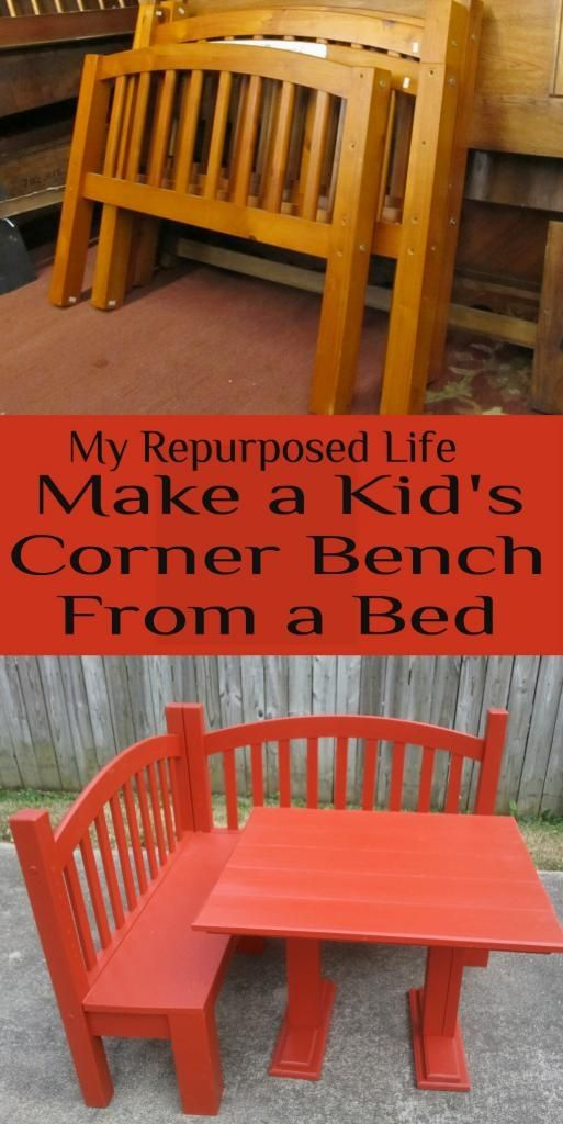 Make a kids corner bench & table set out of a kid's head and foot board