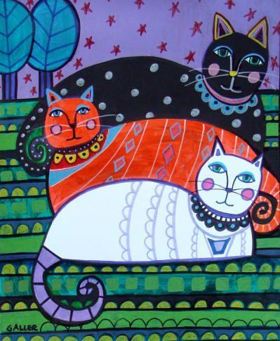 Gato arte popular cartel de pintura de la por HeatherGallerArt
