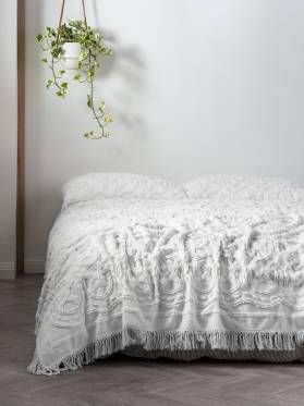 BED COVER SETS SOMERS WHITE BED COVER 240 X 260CM