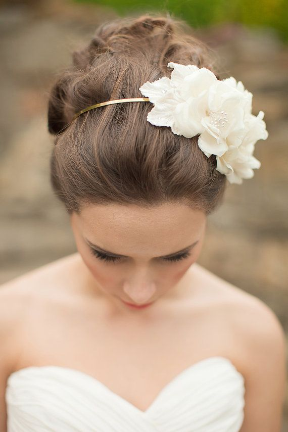 Silk Flower Headband, Floral Headpiece, Bridal Fascinator - Adeline  MADE TO ORDER