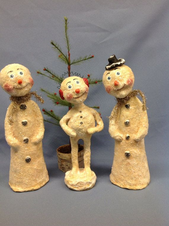 Paper mâché snowman winter holiday figure by monniewilsonsstudio