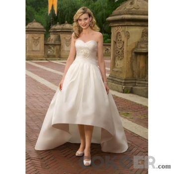 Korta-Brudklänningar-satin-strapless-sweetheart-urringning-stranden-korta-bröllopsklänningar