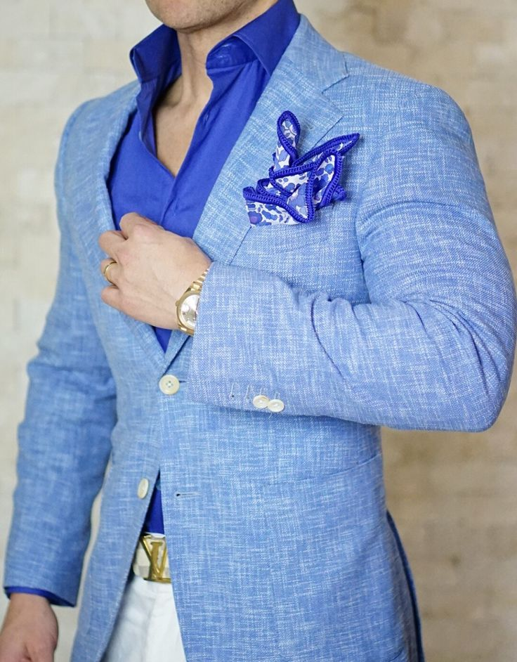 The details of our new French Blu Lino Tweed Jacket #sebastiancruzcouture