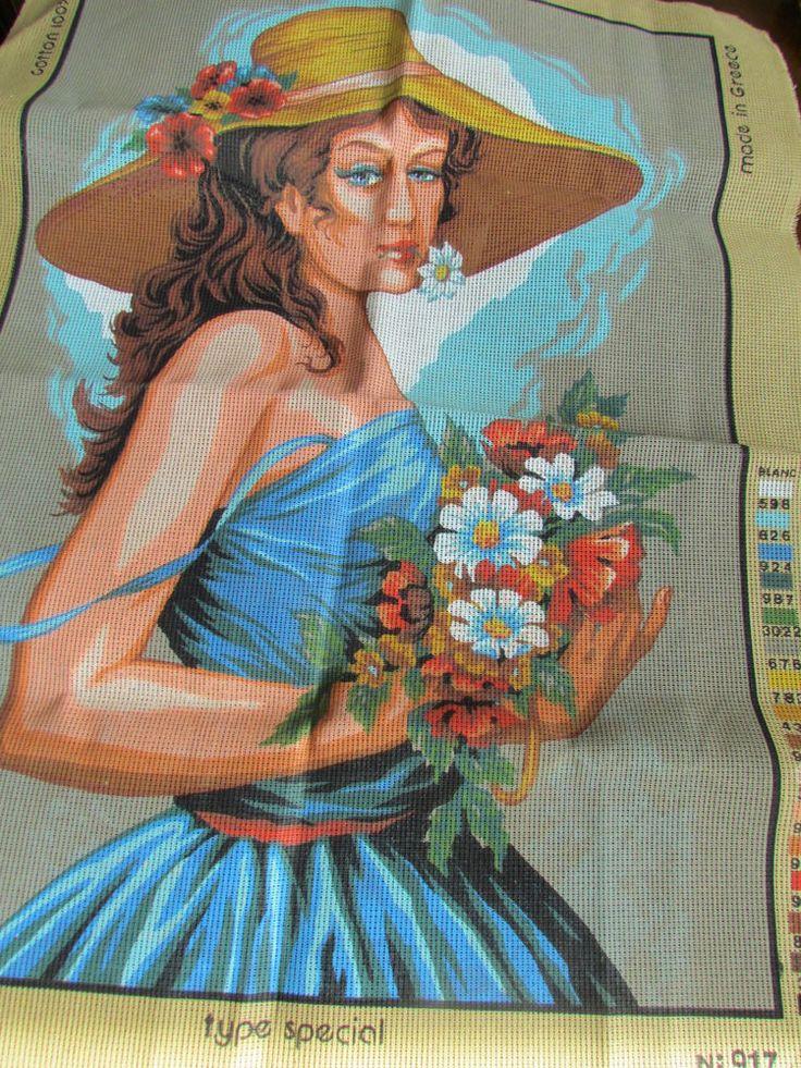 Canvas Stamped lady hat Needlepoint Embroidery Vintage New Maketa Diamant Creece #Diamant