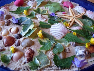 land art with shells, leaves and flowers. How do you encourage your children to explore the nature?
