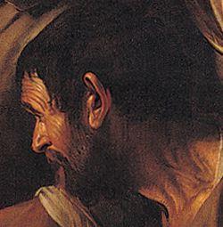 """Caravaggio, """"Cena in Emmaus"""", 1606 olio su tela, 175x141 cm Milano, Pinacoteca di Brera. discepolo"""