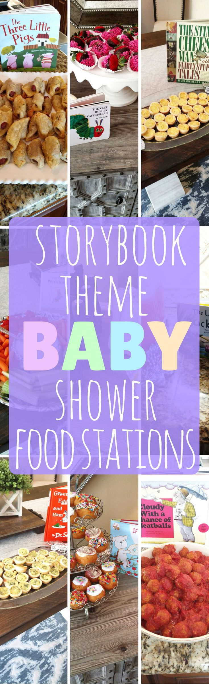 Adorable baby shower idea for a boy or girl! Full list of how to plan the perfect storybook themed baby shower with 8 food and drink stations.