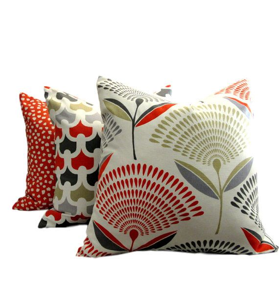 Abstract Red Floral Print Pillow Cover by PillowsByDwellissimo