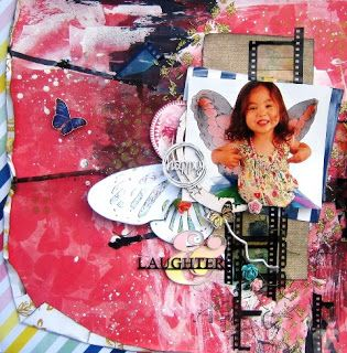 Happy Layout - Scrapmatts Chipboards & Stencil, Bo Bunny Sweet Life collection