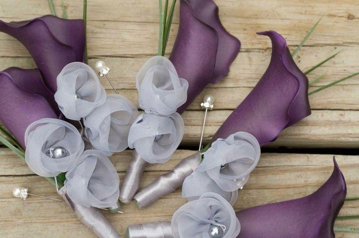 Handmade boutonnières, purple wedding, fake flowers, purple lilies, groomsmen, groom, wedding pictures, diy wedding