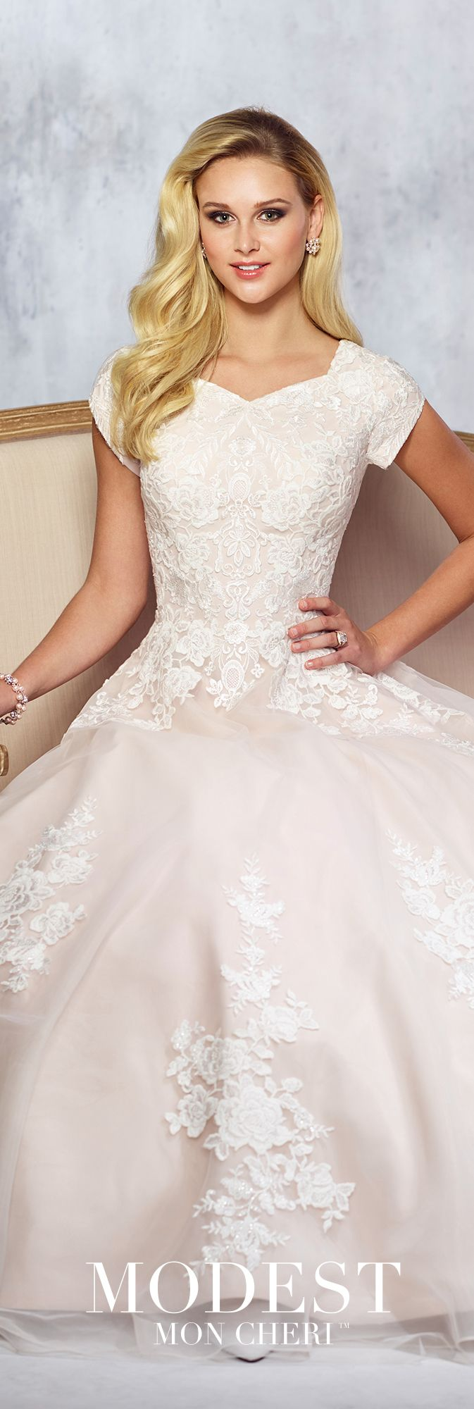 Modest Wedding Dresses Fall 2017 Collection - Style No. TR21714 - tulle and Belgium lace full A-line weddig dress with lace accented cap sleeves