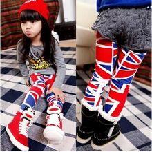 2014 autunno new fashion inghilterra bandiera del modello 100% del cotone del bambino della ragazza dei bambini femminile render pantaloni ragazze legging(China (Mainland))