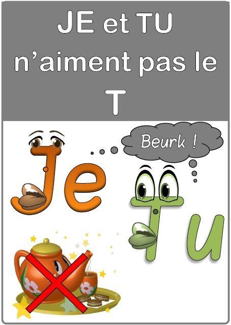 Une affiche « Je et tu » (terminaison du verbe)