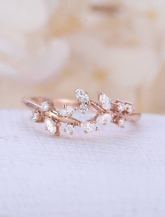 Rose gold engagement ring Diamond Cluster ring Unique engagement ring Delicate leaf wedding Bridal set Promise Anniversary Gift for women – Nandika