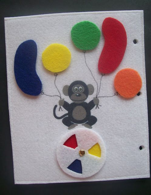 Quiet Book Page: Balloon matching and color wheel (free template too!)