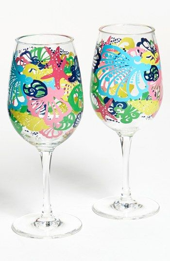 296 best colorful lilly pulitzer images on pinterest for Acrylic paint on wine glasses
