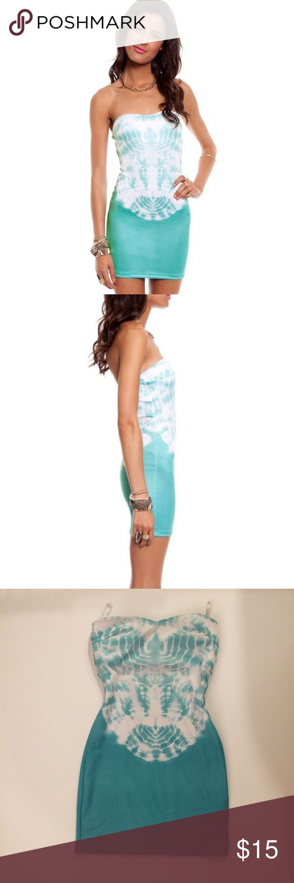 Like new tobi scuba tie dye strapless dress-S Turquoise color tie dye strapless dress from tobi,  only worn a couple times.  Size small tags: lulus, forever 21, missguided, top shop, h and m, Charlotte Russe, Tobi Dresses Mini