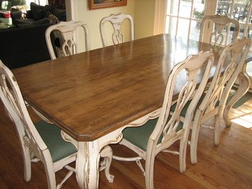 painted white distressed kitchen tables | furniture distressing and glazing