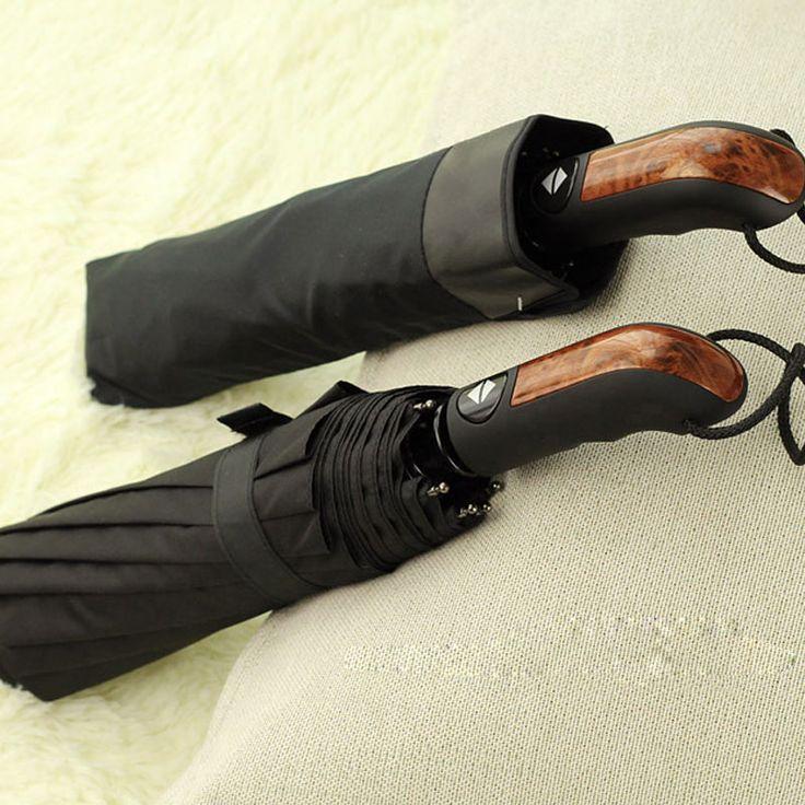 CHN-TOP 10 Ribs Strong Umbrella Men Automatic Folding Large Windproof Wood Handle Umbrellas Rain Women Golf High Quality Parasol #Affiliate