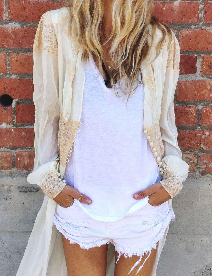 White cutoffs, white tee, kimono.