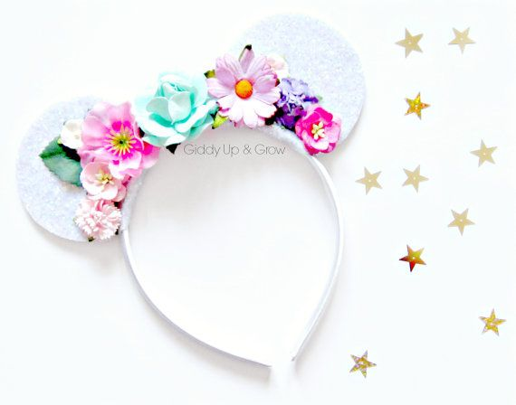 Mickey Mouse Inspired Ears Headband - Disney Bohemian Glitter Mouse Ears, Floral Crown, Hard Headband, giddyupandgrow