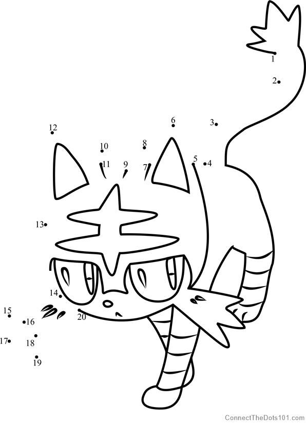 Litten Pokemon Sun And Moon Dot To Dot Pokemon Coloring Pages Pokemon Coloring Coloring Pages