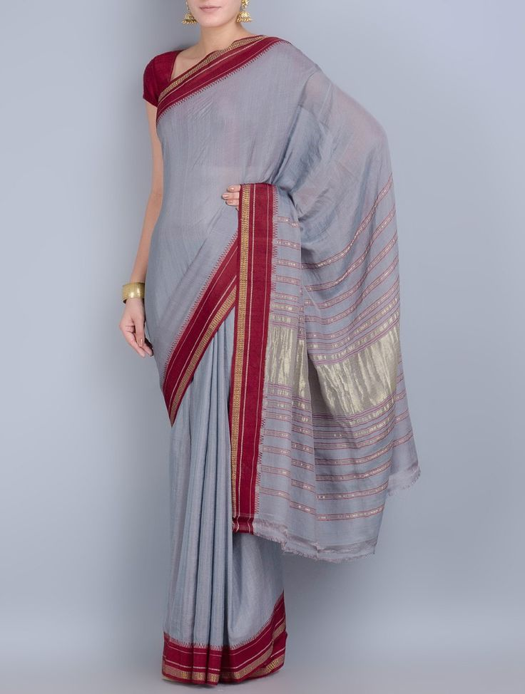 Buy Grey Maroon Cotton Silk Zari Border Handwoven Saree Sarees Woven Online at Jaypore.com