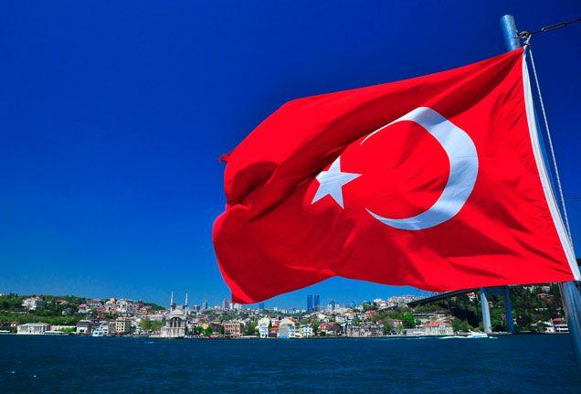 ... Istanbul flag against the Bosphorous—Istanbul, Turkey ...
