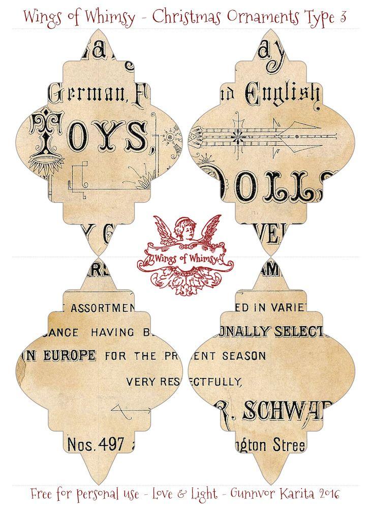 Wings of Whimsy: Noël Type d'ornement 3 #vintage #ephemera #freebie #christmas #ornament