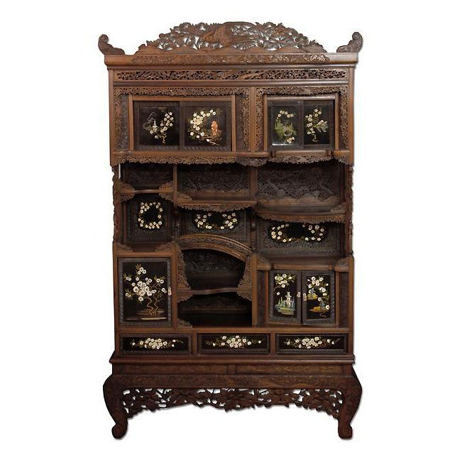 Highly Carved 19th C. Chinese Display Cabinet
