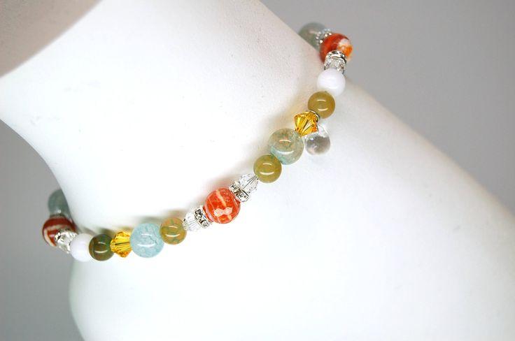 Bracelet cheville été acier inoxydable pierre précieuse bijou cheville bijou élégant bijou corps cristal Création Cristal Ev. #Océan de la boutique CristalEv sur Etsy